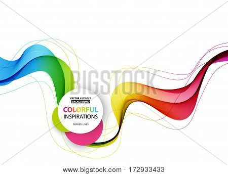 Abstract wave vector background, rainbow waved lines for brochure, website, flyer design. Spectrum wave. Rainbow color poster