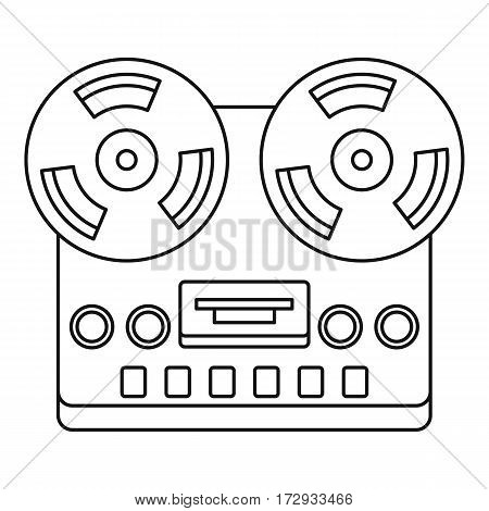 Analog stereo open reel tape deck recorder icon. Outline illustration of analog stereo open reel tape deck recorder vector icon for web