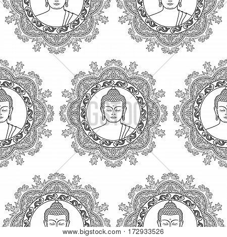Seamless pattern of Buddha head with round mandala decoration. Sign textile print, mascots and amulets. Black and white coloring page