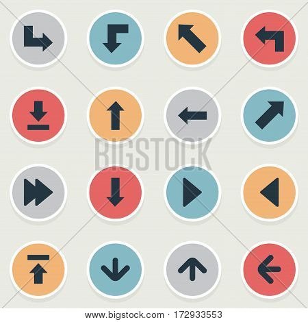 Set Of 16 Simple Indicator Icons. Can Be Found Such Elements As Right Landmark, Transfer, Left Direction.
