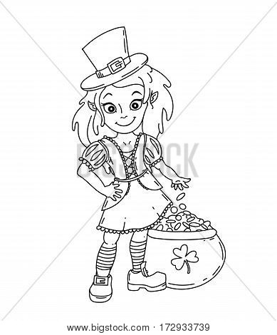 Cute cartoon irish leprichaun girl with the pot full of golden coins. Black and white isolated vector illustration for St. Patricks Day