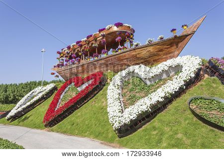 DUBAI UAE - NOV 27 2016: Historic dhow and flowers at the Miracle Garden in Dubai. United Arab Emirates Middle East