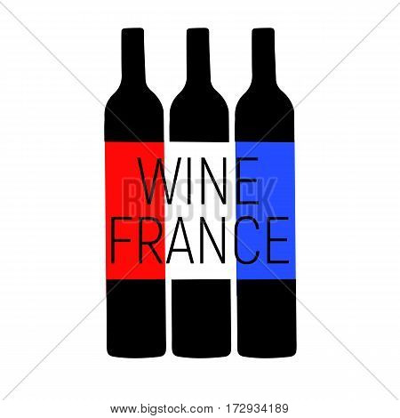 Wine France tree bottle with red and blue , white color of flag