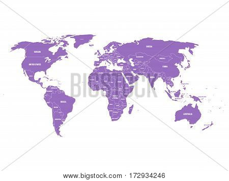 Violet political World map with country borders and white state name labels. Hand drawn simplified vector illustration.