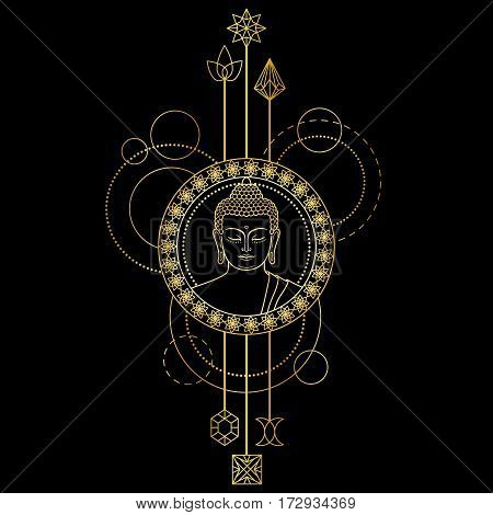 Gold Buddha head with abstract elements. Sign for tattoo, textile print, mascots and amulets on black background.
