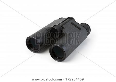 Black binoculars isolated on white background studio shot. Focus stacking. Extreme depth of field.