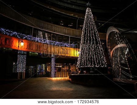Decorated Christmas tree in city at night