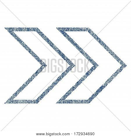 Shift Right vector textured icon for overlay watermark stamps. Blue jeans fabric vectorized texture. Symbol with scratched design. Blue ink rubber seal stamp with fiber textile structure.