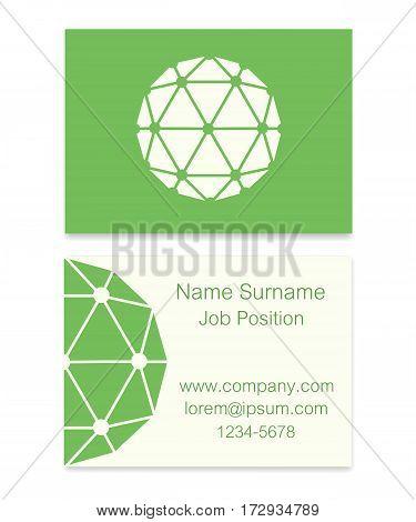 Vector Polyhedron Flat Design Business Card Illustration