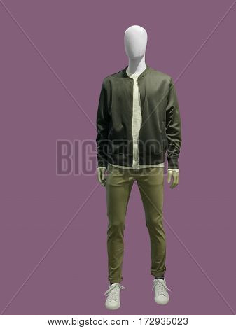 Full-length male mannequin dressed in casual clothes (jacket and trousers) isolated. No brand names or copyright objects.