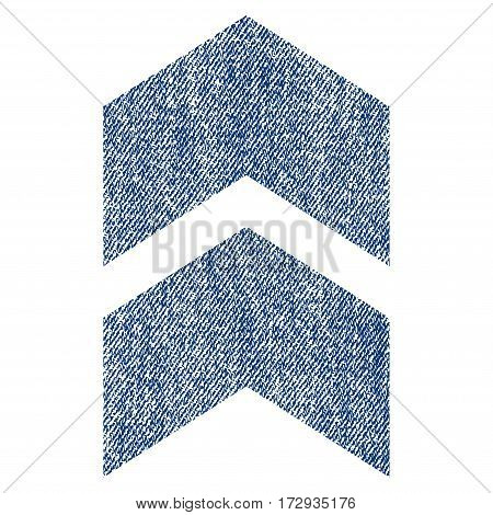 Shift Up vector textured icon for overlay watermark stamps. Blue jeans fabric vectorized texture. Symbol with unclean design. Blue ink rubber seal stamp with fiber textile structure.