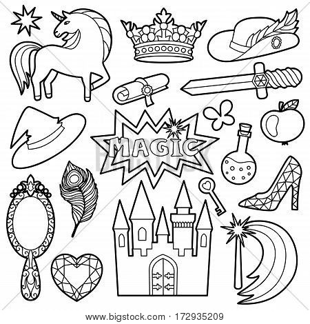Fashion Patch Set with magic and fairy tale objects isolated on white background. Pin badges set. Stickers collection. Black and white appliques for denim or clothes. Coloring page.