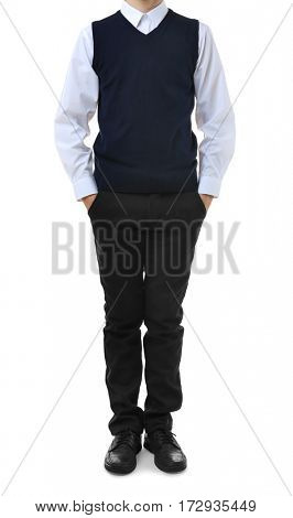 Teenage boy in school uniform on white background