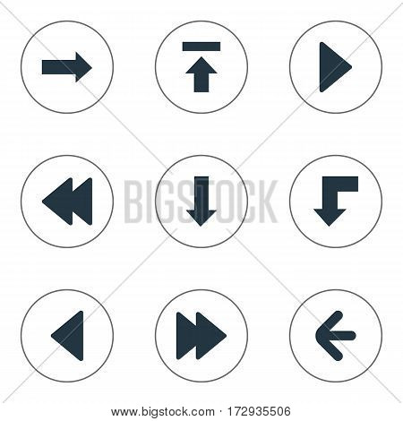 Set Of 9 Simple Arrows Icons. Can Be Found Such Elements As Right Direction, Rearward, Left Direction And Other.