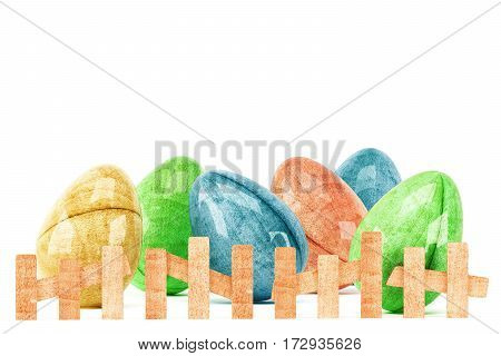 Easter eggs behind wooden fence isolated on white background. 3d rendering