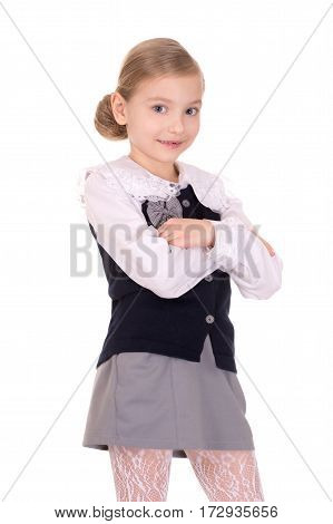 portrait of a little girl with crossed arms on a white background