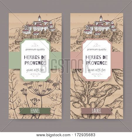 Two Herbes de Provence labels with Provence town landscape, fennel and laurel sketch. Culinary herbs collection. Great for cooking, medical, gardening design.
