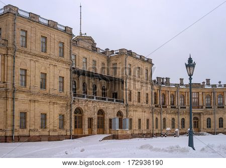 Gatchina Palace. Entrance to the right wing. Right elegant street lamp. Russia.