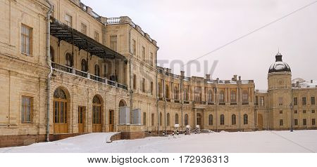 Gatchina Palace. Entrance to the right wing. To the right is visible to the right wing of the tower. Russia.