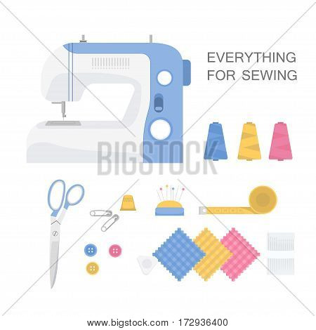 Sewing  Machine, pins, needles and buttons, scissors, spool of thread. Vector illustration in flat style.