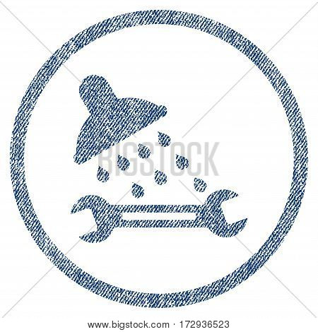 Shower Plumbing vector textured icon for overlay watermark stamps. Blue jeans fabric vectorized texture. Symbol with dust design. Blue ink rubber seal stamp with fiber textile structure.