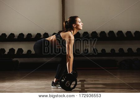 Fitness Woman Weightlifting Deadlift