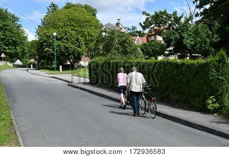 Jumieges France - june 22 2016 : cyclists on a small road