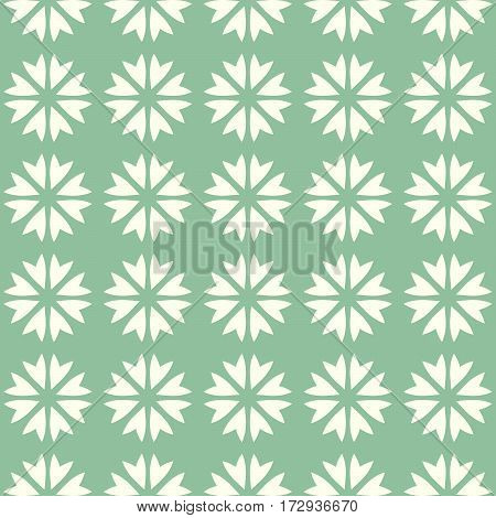 Abstract vector seamless pattern mosaic of blooms in linear arrangement on green background. Retro natural design wallpaper.