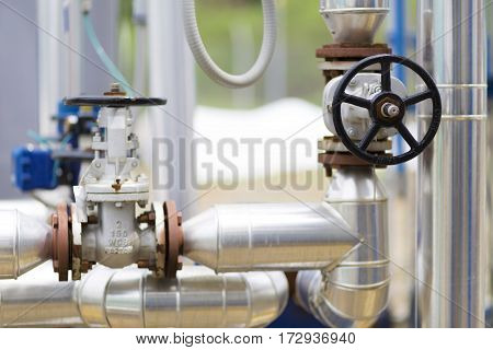 Handle Gate Valve On The Pipeline