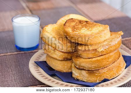 French Toast On The Plate With Yogurt