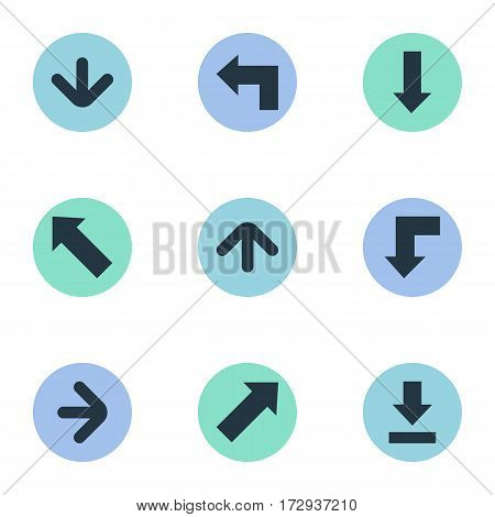 Set Of 9 Simple Cursor Icons. Can Be Found Such Elements As Indicator, Right Direction, Upward Direction And Other.