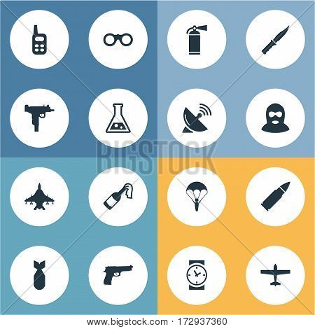 Set Of 16 Simple War Icons. Can Be Found Such Elements As Terrorist, Pistol, Cold Weapon And Other.