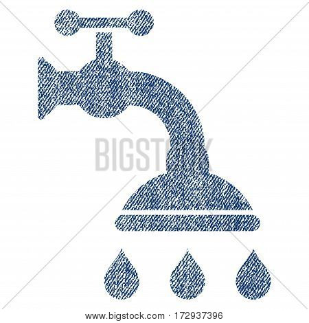 Shower Tap vector textured icon for overlay watermark stamps. Blue jeans fabric vectorized texture. Symbol with dust design. Blue ink rubber seal stamp with fiber textile structure.