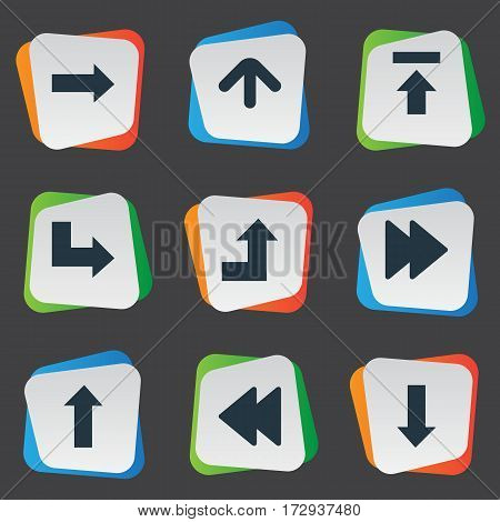 Set Of 9 Simple Arrows Icons. Can Be Found Such Elements As Right Direction, Transfer, Upward Direction And Other.