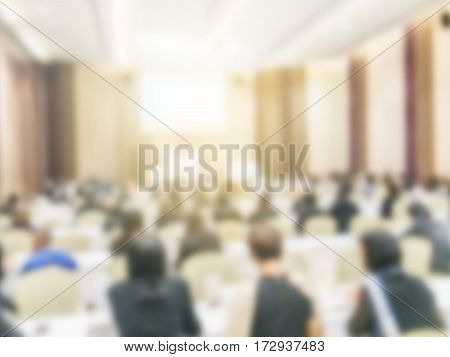 Abstract blurred people lecture in seminar room education concept