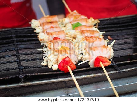 Barbecue skewers with sausage and mushrooms, Grill food image