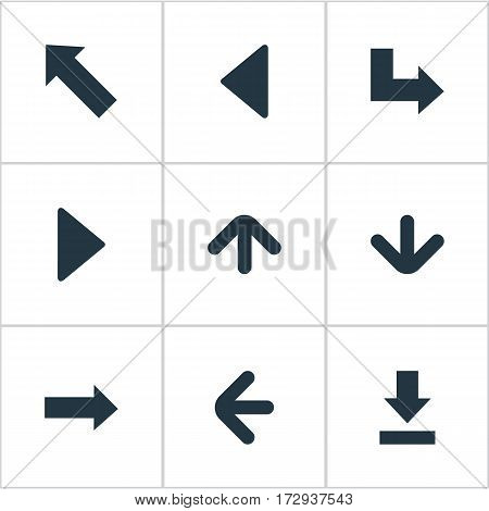 Set Of 9 Simple Pointer Icons. Can Be Found Such Elements As Pointer, Left Landmark , Pointer.
