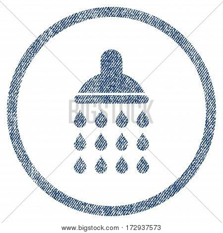 Shower vector textured icon for overlay watermark stamps. Blue jeans fabric vectorized texture. Symbol with dirty design. Blue ink rubber seal stamp with fiber textile structure.