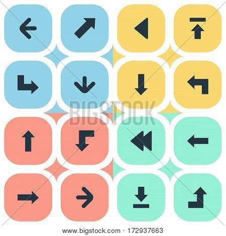 Set Of 16 Simple Indicator Icons. Can Be Found Such Elements As Let Down, Left Direction, Pointer And Other.