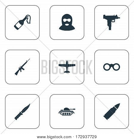 Set Of 9 Simple Military Icons. Can Be Found Such Elements As Terrorist, Firearm, Air Bomber And Other.