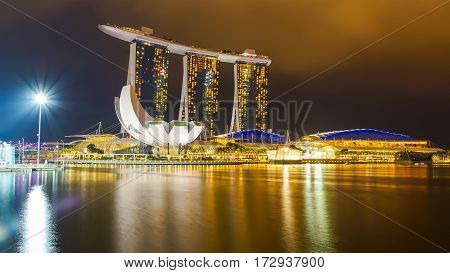 MARINA BAY SINGAPORE - JAN 20 2017: Landscape of Marina Bay Sands in Singapore.