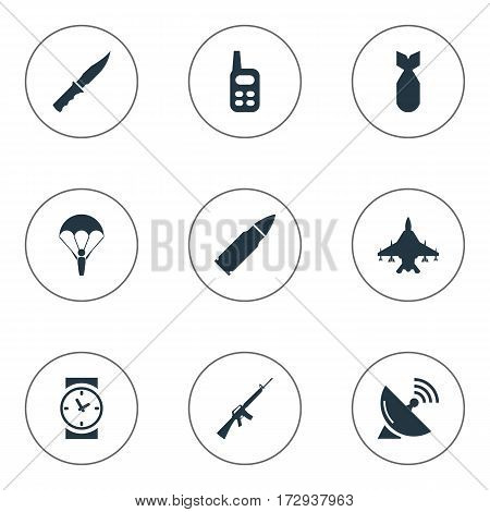 Set Of 9 Simple Army Icons. Can Be Found Such Elements As Signal Receiver, Cold Weapon, Nuke And Other.