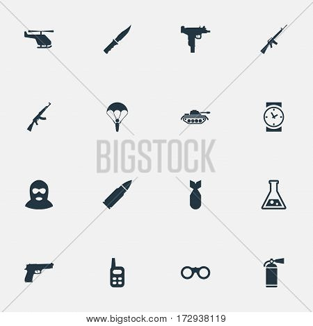 Set Of 16 Simple Military Icons. Can Be Found Such Elements As Paratrooper, Heavy Weapon, Chemistry And Other.