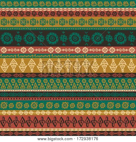 Ethnic boho seamless pattern. Ethno striped ornament. Tribal art repeating background. Cloth design, wallpaper, wrapping