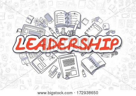 Cartoon Illustration of Leadership, Surrounded by Stationery. Business Concept for Web Banners, Printed Materials.