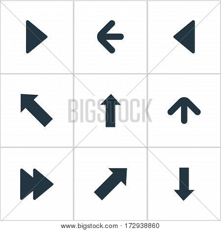 Set Of 9 Simple Indicator Icons. Can Be Found Such Elements As Pointer , Upward Direction , Right Landmark.