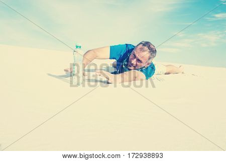 Traveler Suffering From Thirst Lost In The Desert