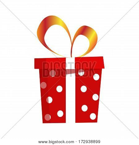Different gift box with ribbon and bow. Flat design. Vector illustration on white background