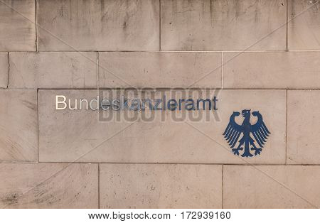 Plate At The Wall Of The German Chancellery, Bundeskanzleramt