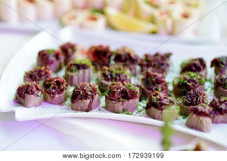 Delicious Pate Snacks With Beet Topping Served On A Party Or Wedding Reception